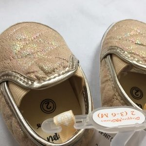 2 infant metallic slip on quilted soft sneakers